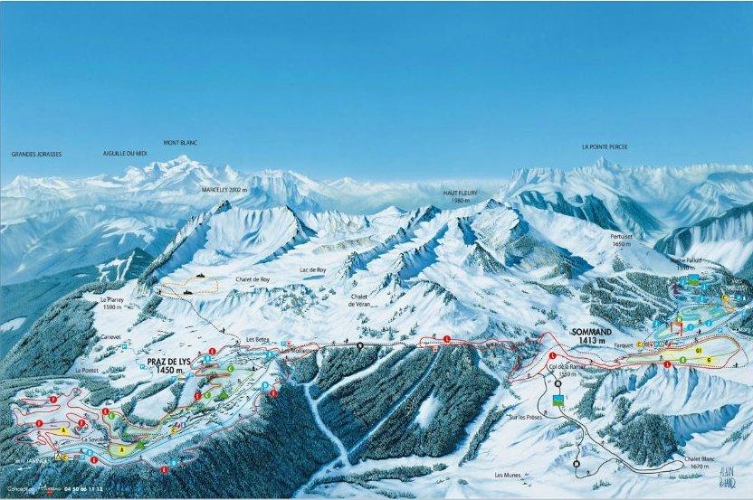 Plan des pistes ski alpin chalet le raydan
